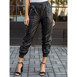 Stylish Black Loose Elastics Zipper Mid-Calf Women's Casual Pants