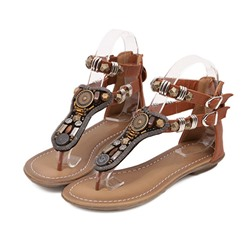 Shoespie Sexy Thong Zipper Casual Flat Sandals