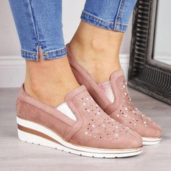 Shoespie Sexy Rhinestone Round Toe Slip-On Low-Cut Upper Sneakers