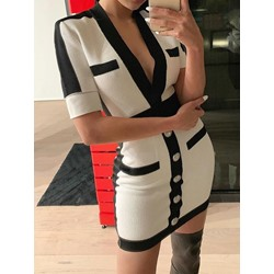Shoespie Sexy Patchwork V-Neck Bodycon Short Sleeve Women's Dress