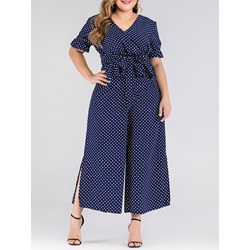 Plus Size Polka Dots V-Neck Shirt Wide Legs Pants Women's Two Piece Sets