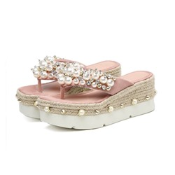 Shoespie Stylish Rhinestone Slip-On Platform Casual Slippers