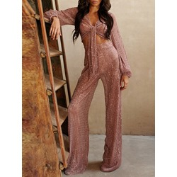 Sequins V-Neck Lantern Sleeve Shirt Wide Legs Pants Women's Two Piece Sets