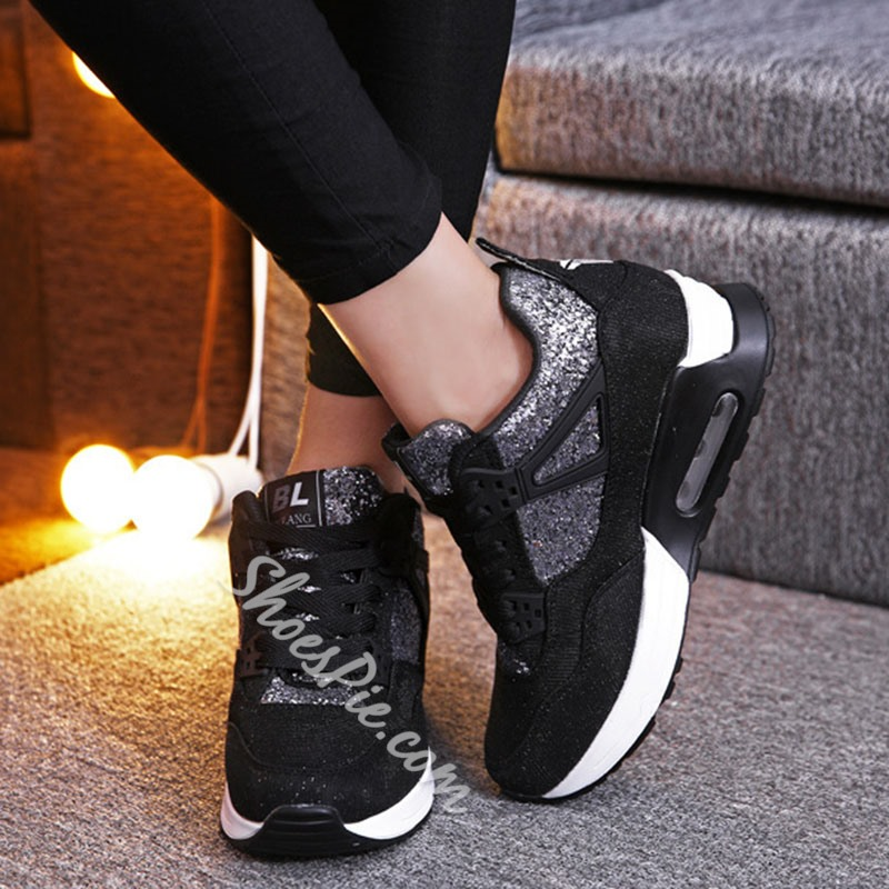 Shoespie Sexy Sequin Low-Cut Upper Thread Lace-Up Casual Sneakers