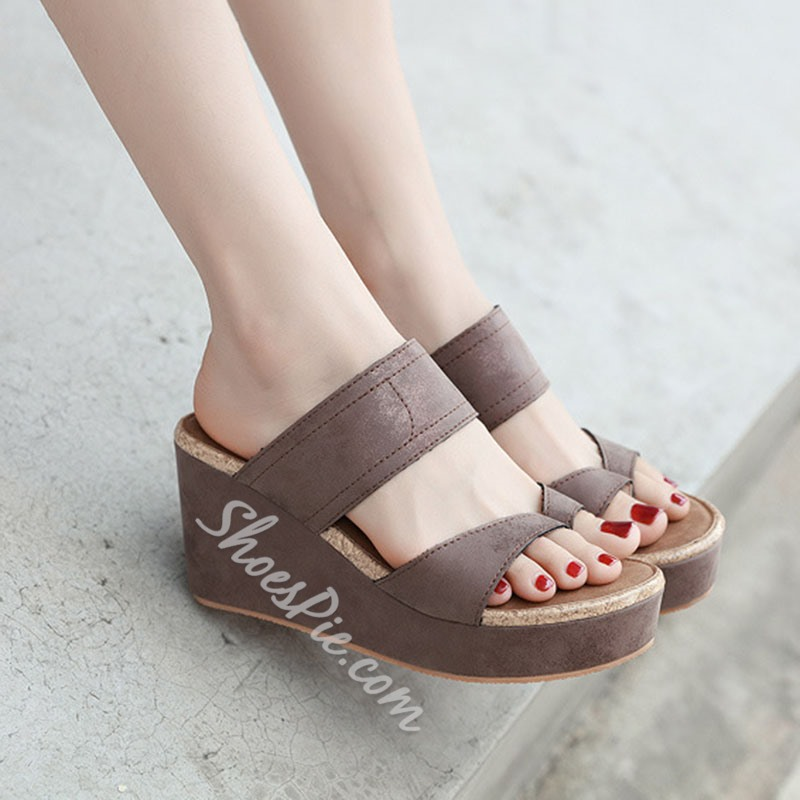 Shoespie Stylish Thong Thread Wedge Heel Casual Slippers