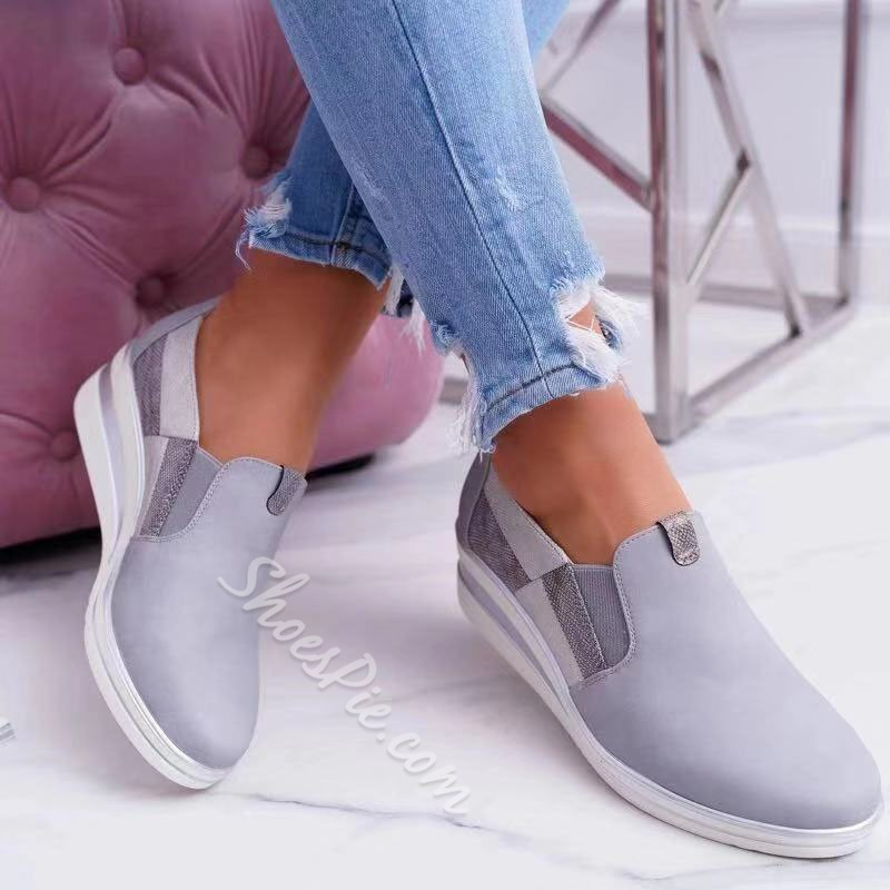 Shoespie Stylish Round Toe Slip-On Low-Cut Upper Sneakers
