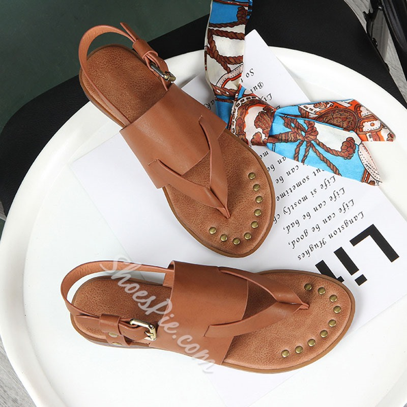 Shoespie Stylish Buckle Thong Plain Casual Sandals