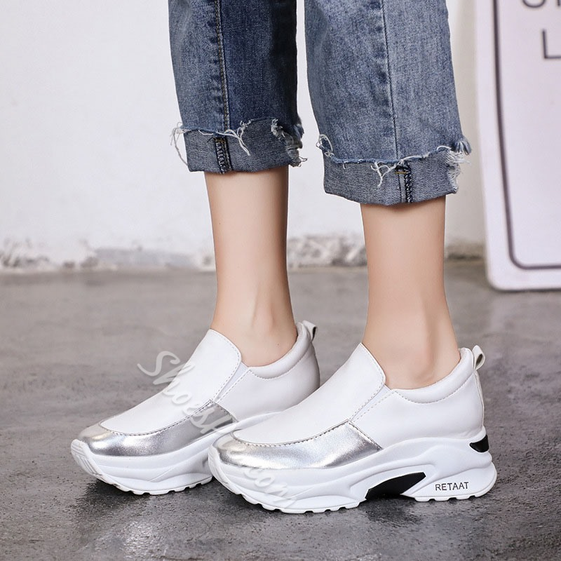 Shoespie Flat With Round Toe Platform Casual Sneakers