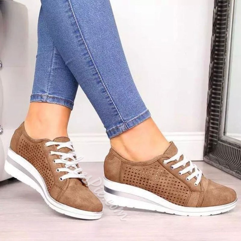 Shoespie Sexy Lace-Up Wedge Heel Hollow Casual Sneakers
