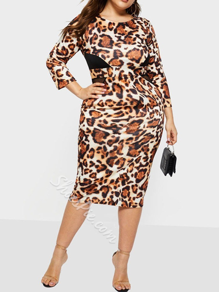 Plus Size Leopard Print Round Neck Bodycon Women's Dress