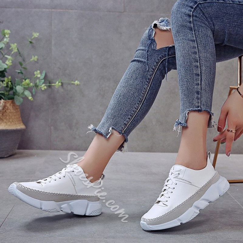 Shoespie Stylish PU Low-Cut Upper Lace-Up Thread Sneakers