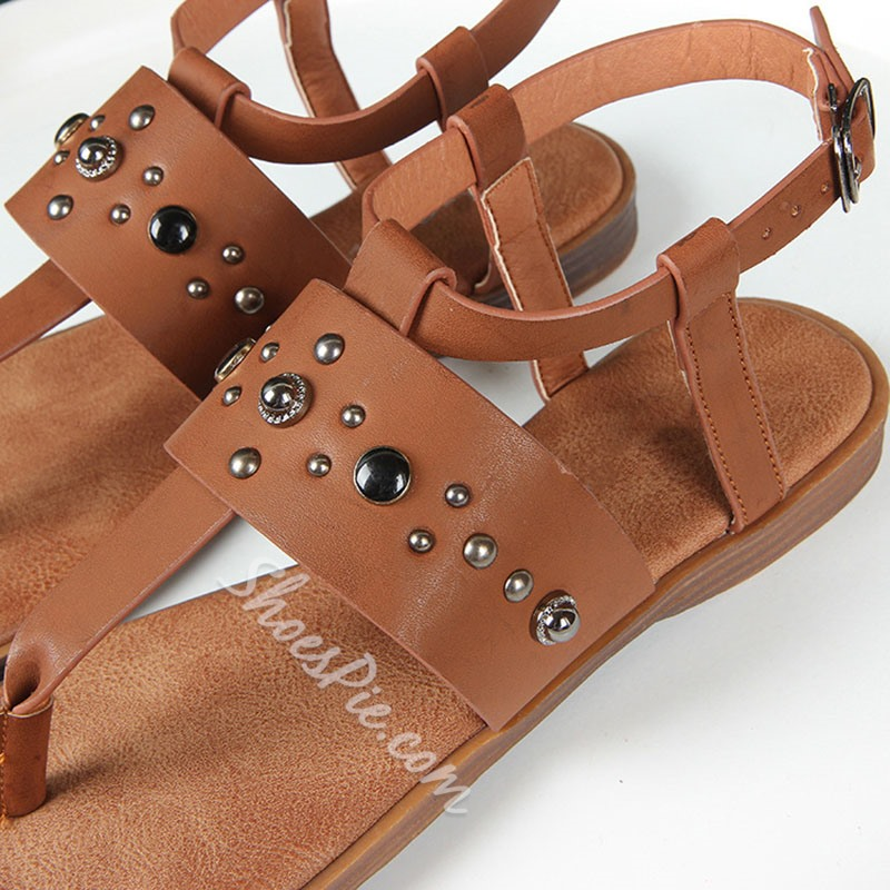 Shoespie Stylish Flat With Thong Buckle Plain Flat Sandals