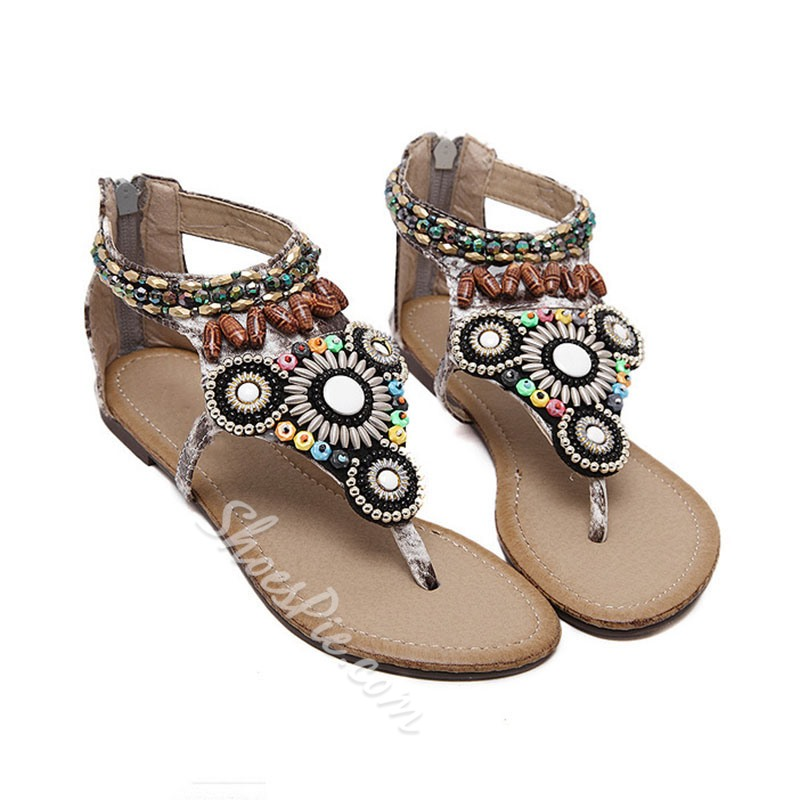 Shoespie Stylish Heel Covering Thong Flat Sandals