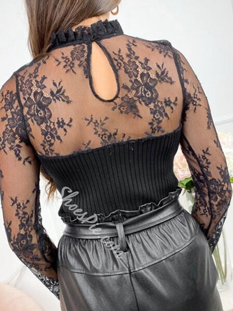 Black Mesh See-Through Lace Patchwork Long Sleeve Women's Sweater