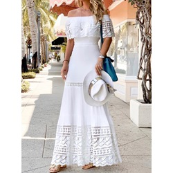 Off Shoulder Short Sleeve Floor-Length Party/Cocktail Women's Dress