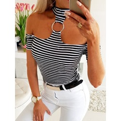 Casual Stripe Cold Shoulder Short Sleeve Women's T-Shirt