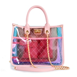 Shoespie PVC Thread Plaid Rectangle LockTote Bags