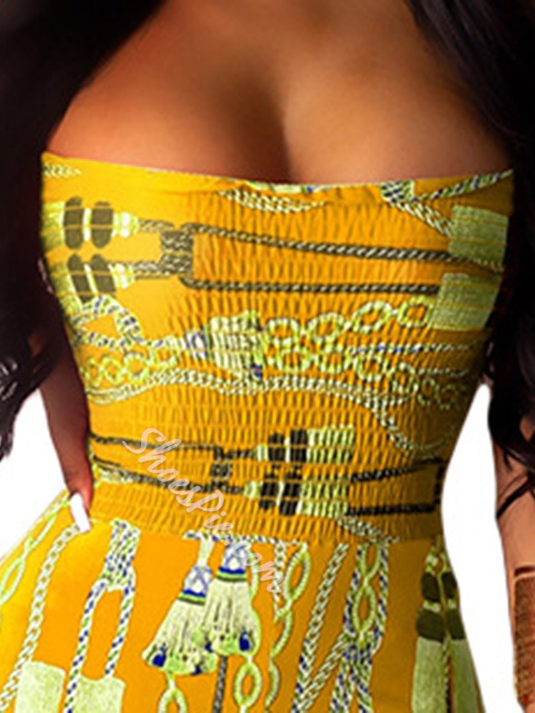 Sexy Yellow Strapless Print Full Length Bellbottoms Women's Jumpsuit
