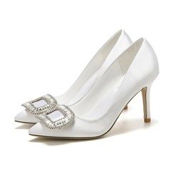 Shoespie Trendy Pointed Toe Rhinestone Slip-On Princess Bridal Shoes