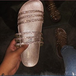 Shoespie Sexy Rhinestone Slip-On PVC Slippers