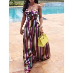Colorful Stripe Print Bowknot Strapless Floor-Length Women's Dress