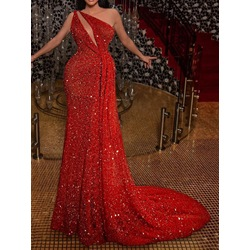 Red Elegant Oblique Collar Sequins Sleeveless Sexy Women's Dress