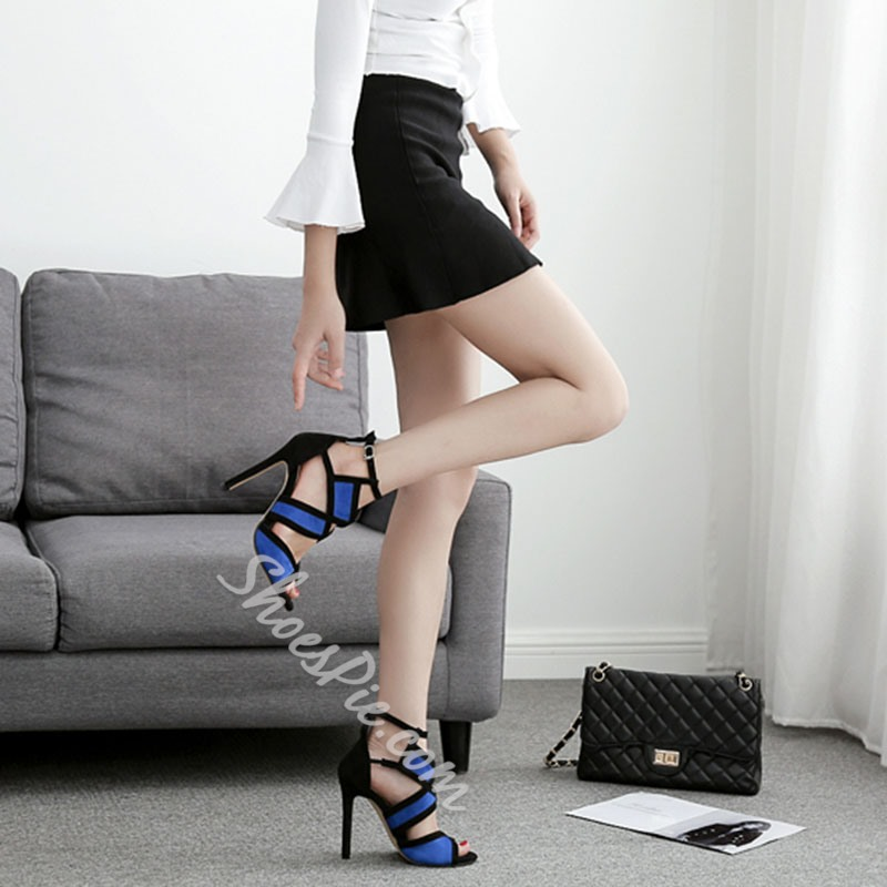 Shoespie Sexy Hollow Buckle Stiletto Heel Color Block Thin Shoes