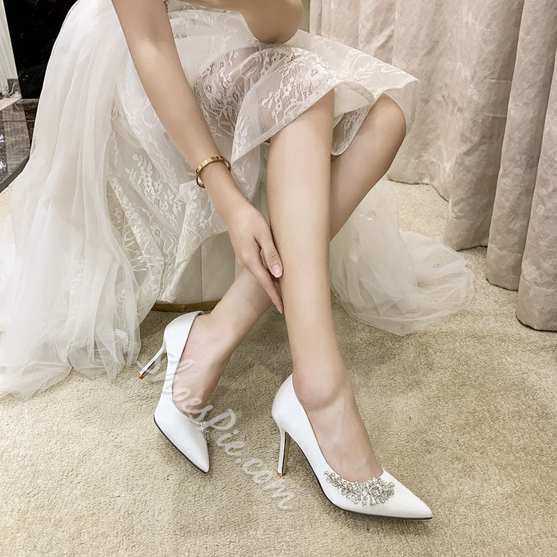 Shoespie Trendy Stiletto Heel Pointed Toe Slip-On Rhinestone Bridal Shoes