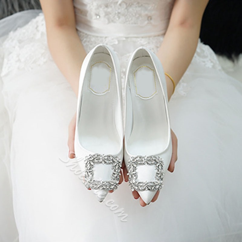 Shoespie Stylish Rhinestone Slip-On Stiletto Heel Bridal Shoes