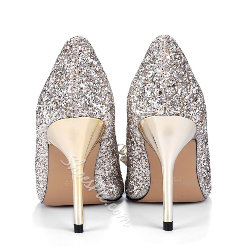 Shoespie Stylish Pointed Toe Bow Stiletto Heel Low-Cut Upper Bridal Shoes