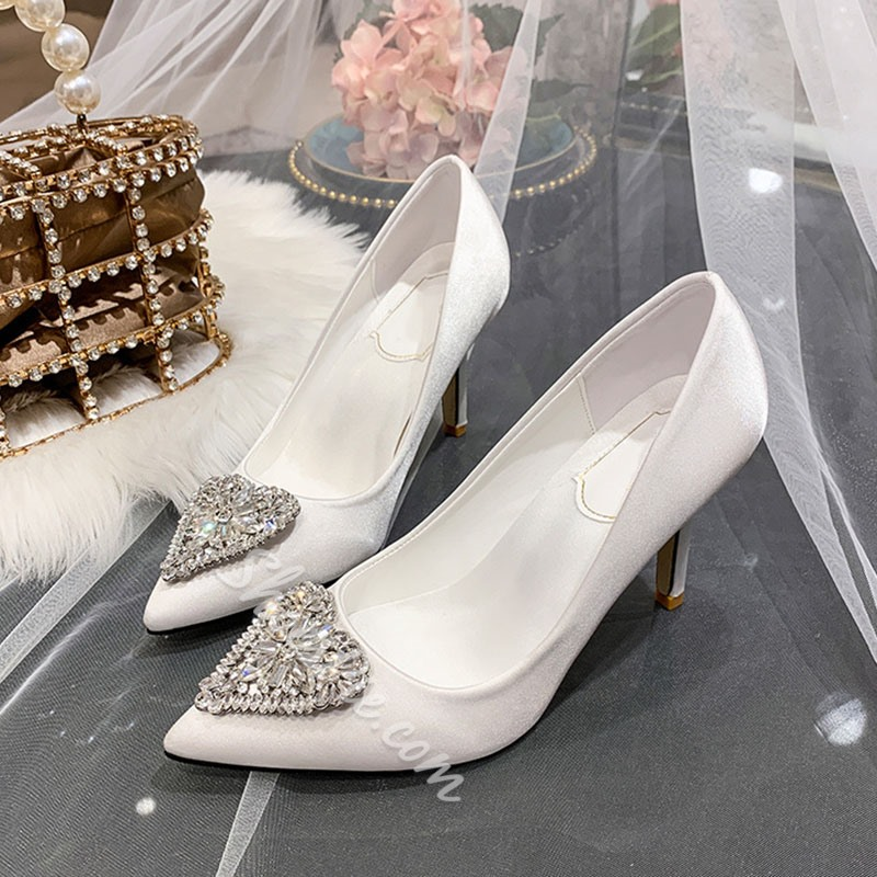 Shoespie Trendy Rhinestone Pointed Toe Slip-On Stiletto Heel Bridal Shoes