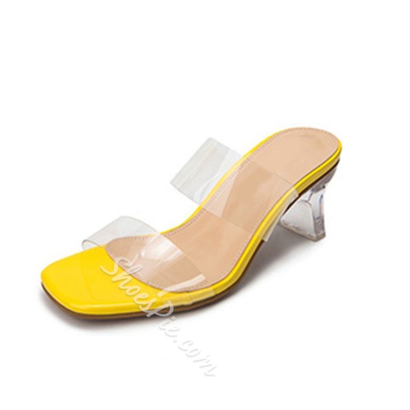 Shoespie Sexy Shaped Heel Thread Rubber Jelly Mules Shoes