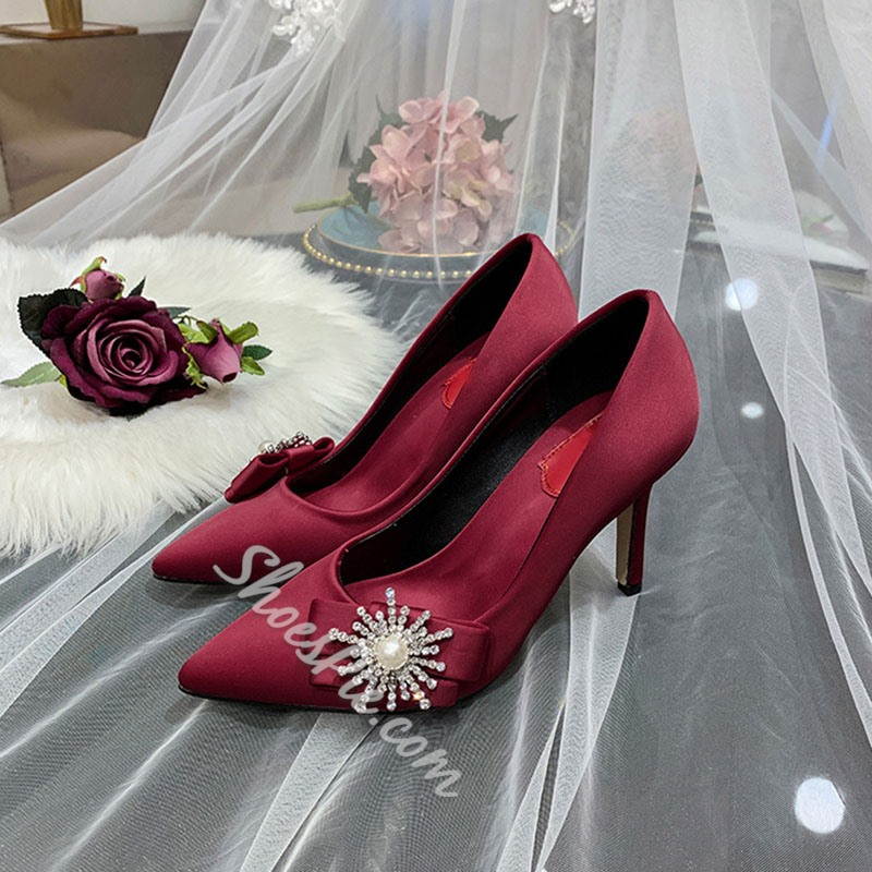 Shoespie Stylish Slip-On Stiletto Heel Rhinestone Princess Bridal Shoes