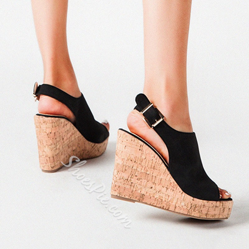 Shoespie Stylish Heel Peep Toe Buckle Wedge Sandals