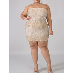 Plus Size Tassel Sequins Strapless Bodycon Women's Dress