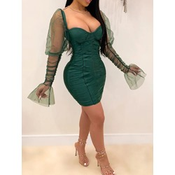 Sexy Mesh Pleated Patchwork Long Sleeve Bodycon Women's Dress