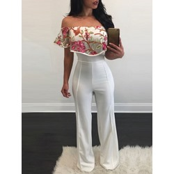 Sweet Floral Embroidery Off-Shoulder Slim Women's Jumpsuit