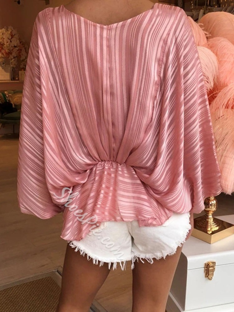 Casual Pink V-Neck Batwing Sleeve Women's Blouse
