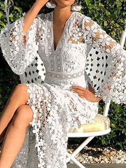 Sexy V-Neck Hollow Floor-Length Lace Flare Sleeve Women's Dress