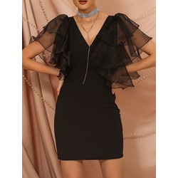 Elegant Black Falbala Ruffle Sleeve V-Neck Bodycon Women's Dress
