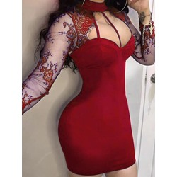 Sexy Mesh Long Sleeve Lace Hollow Bodycon Women's Dress