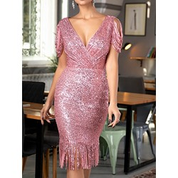 Elegant Sequins V-Neck Tassel Bodycon Women's Dress