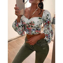 Sexy Floral Print Square Neck Lantern Sleeve Women's Blouse