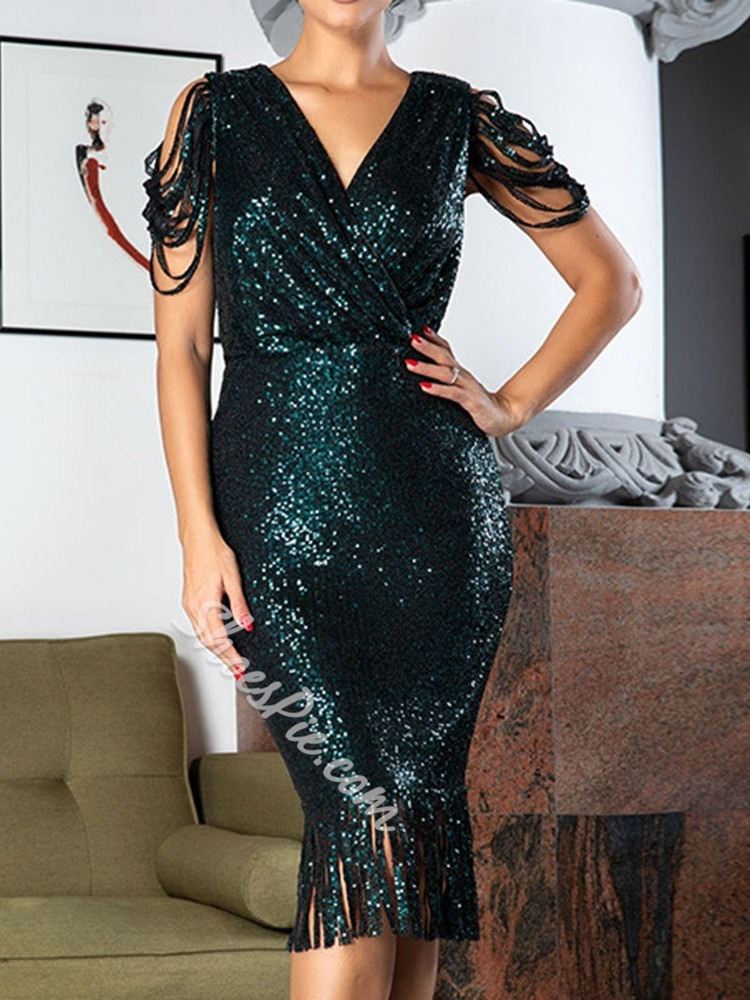Sequins Fringe Short Sleeve V-Neck Bodycon Women's Dress