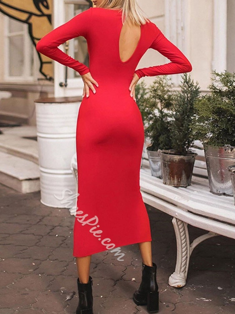 Stylish Concise Long Sleeve Backless Split Women's Dress