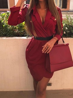 Elegant V-Neck Notched Lapel Bodycon Women's Dress