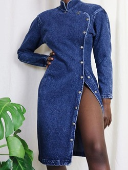 Stylish Denim Stand Collar A-Line Single-Breasted Women's Dress