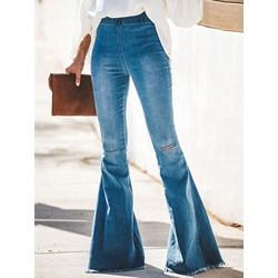 Stylish Hole Bellbottoms Slim Women's Jeans