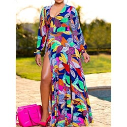 Sexy V-Neck Split Floor-Length Print Lantern Sleeve Women's Dress