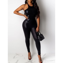 Sexy Black Sleeveless Backless Vest Skinny Pants Women's Two Piece Sets